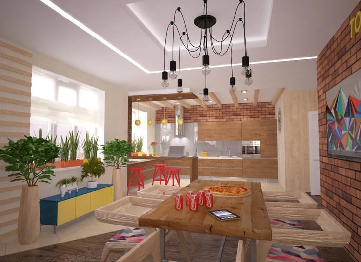 Квартира 160 кв.м.  в ЖК<q>Эдем</q>  Новосибирск: Столовые комнаты в . Автор – Студия дизайна Виктории Силаевой