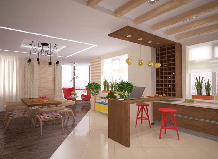 Квартира 160 кв.м.  в ЖК<q>Эдем</q>  Новосибирск: Кухни в . Автор – Студия дизайна Виктории Силаевой