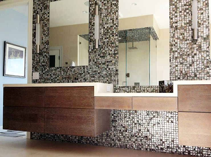 Black Lip Mother of Pearl in Bathroom Renovation in Kentfield, California, USA:  Bathroom by ShellShock Designs