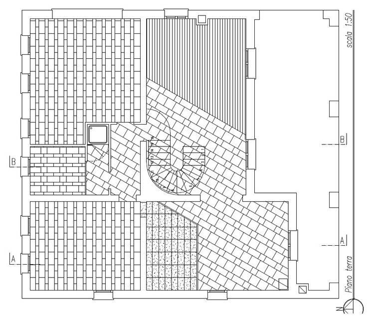 Pianta piano terra e schema posa pavimentazione:  in stile  di massimo spagnolo architetto,