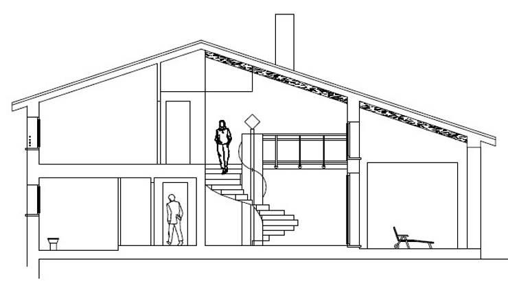 Sezione sul soggiorno a doppia altezza:  in stile  di massimo spagnolo architetto,