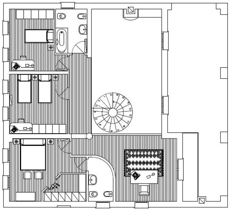 Pianta primo piano:  in stile  di massimo spagnolo architetto,