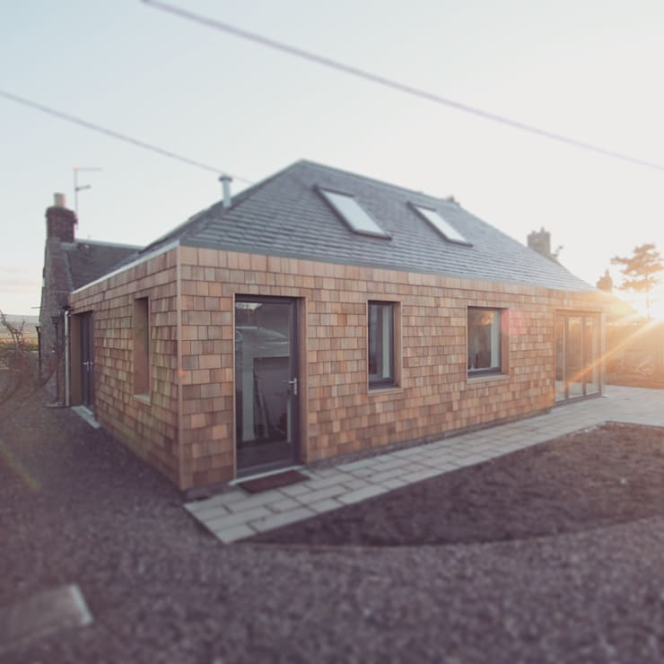 Rear elevation showing timber shingle cladding:  Houses by A449 LTD