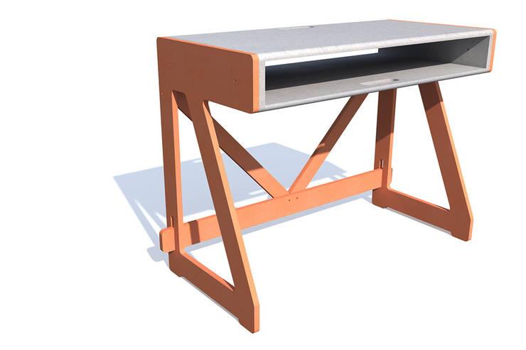 1020 DESK SYSTEM Valchromat : Bureau de style  par PIERRE FURNEMONT DESIGN STUDIO