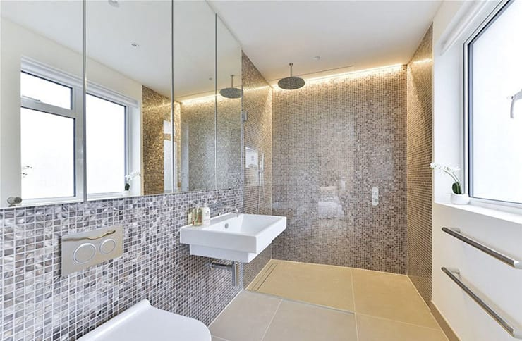 Dyed and pure white hexagon freshwater Mother of Pearl mosaics:  Bathroom by ShellShock Designs