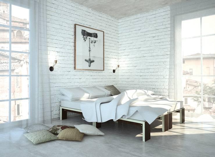Modulmöbel Chillen-Schlafen-Arbeiten-Essen:  Schlafzimmer von habes-architektur