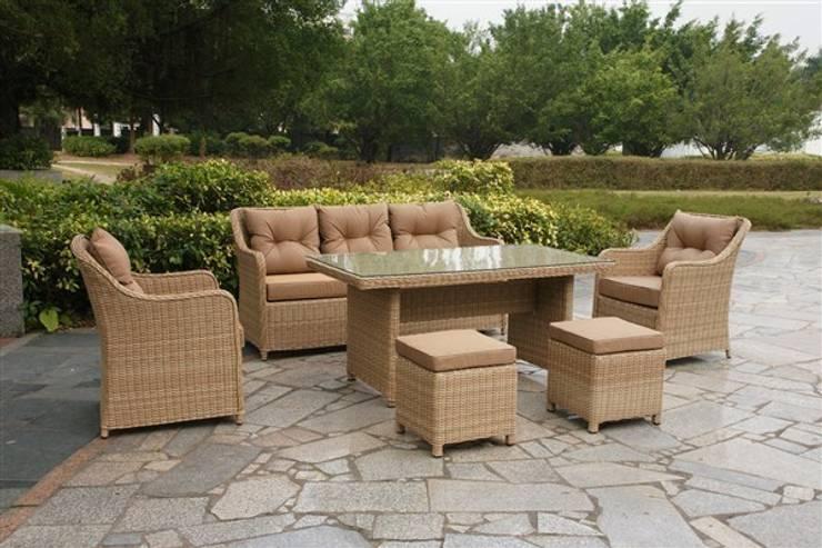 Kumbahçe Bahçe Mobilyaları – Mix Masalı Oturma Takımı Cream Color:  tarz Balkon, Veranda & Teras