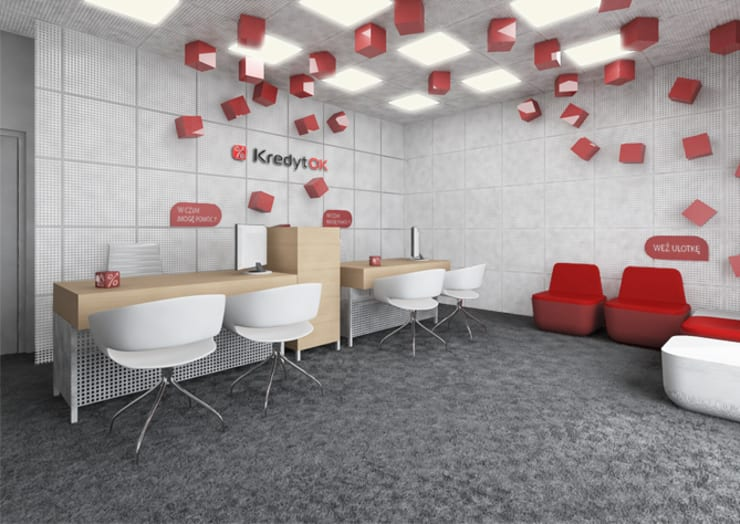 Projekt biur - lifting placówek bankowych: styl , w kategorii Biurowce zaprojektowany przez Za murami za dachami