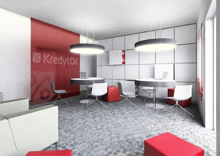 Projekt biur – lifting placówek bankowych: styl , w kategorii Biurowce zaprojektowany przez Za murami za dachami