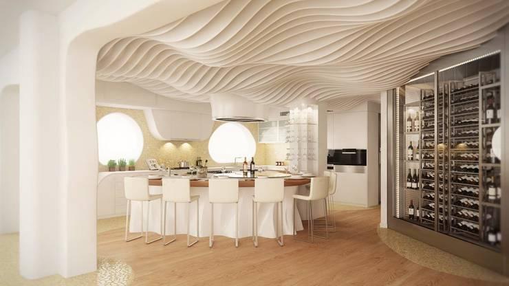 Vista General de la cocina - Diseño 3D -: Cocinas de estilo mediterráneo de EXA4 AEC Soft & Services