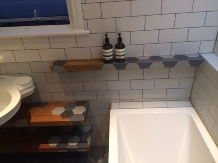 Bathroom floating shelves ,: modern Bathroom by woodstylelondon