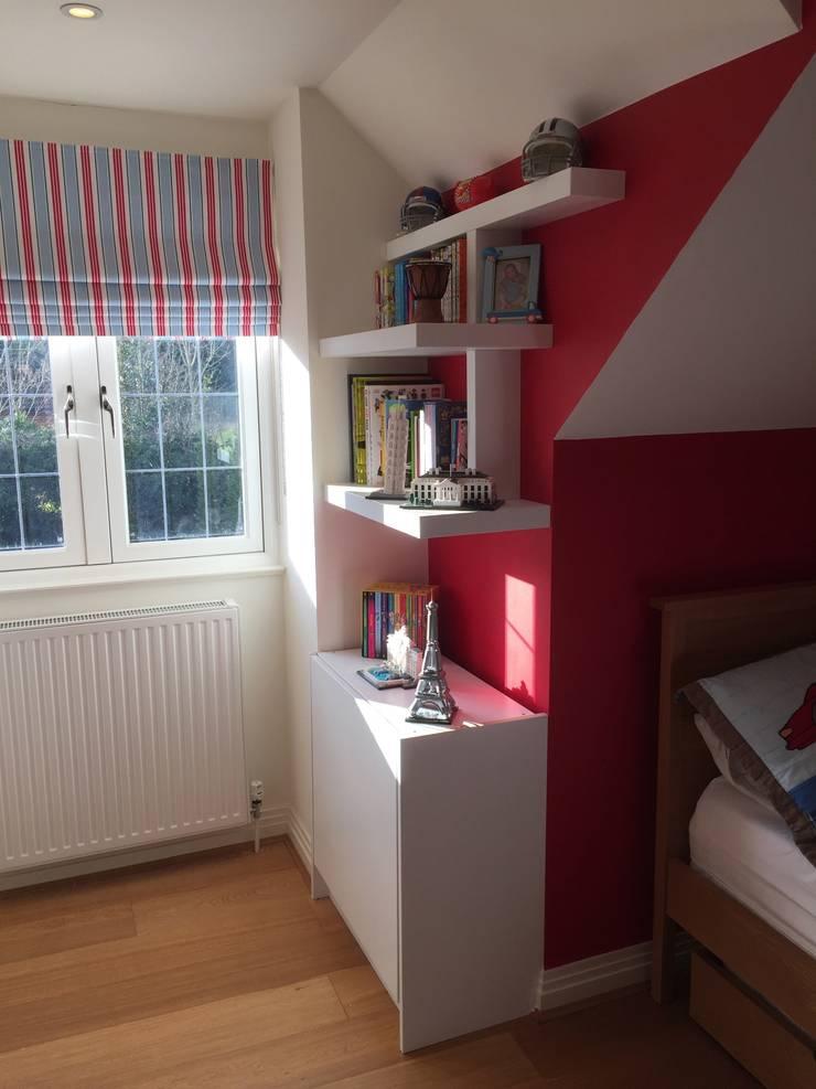 Simple storage solution for kids bedroom:  Bedroom by Designer Vision and Sound: Bespoke Cabinet Making