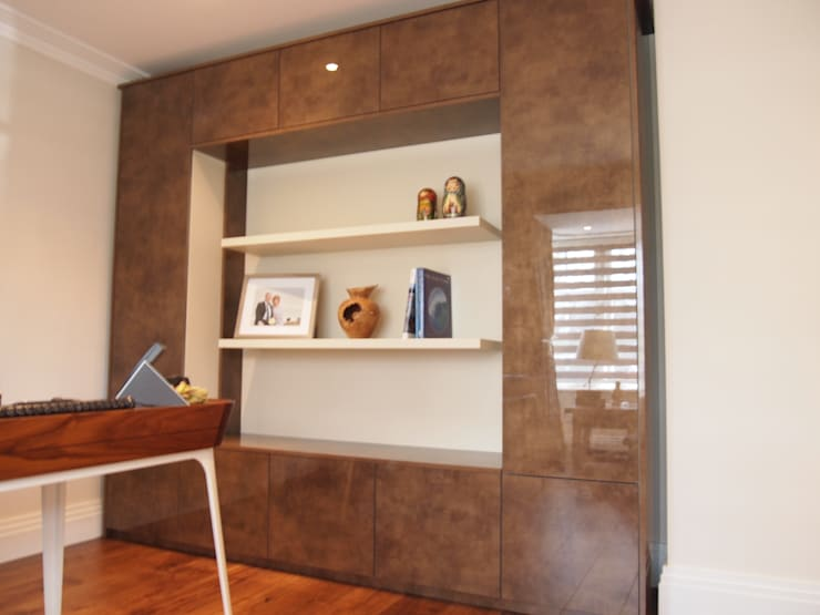 Storage and display unit: modern Study/office by Designer Vision and Sound: Bespoke Cabinet Making