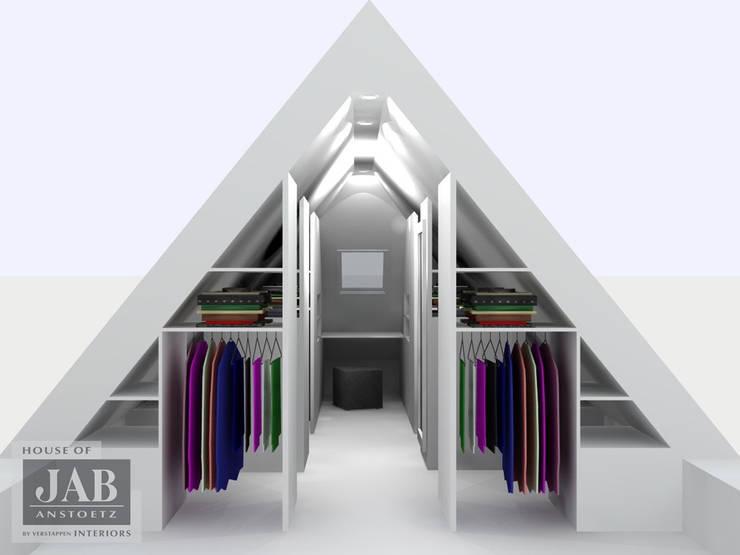 3D visualisatie inloopkast doorsnede:   door House of JAB by Verstappen Interiors