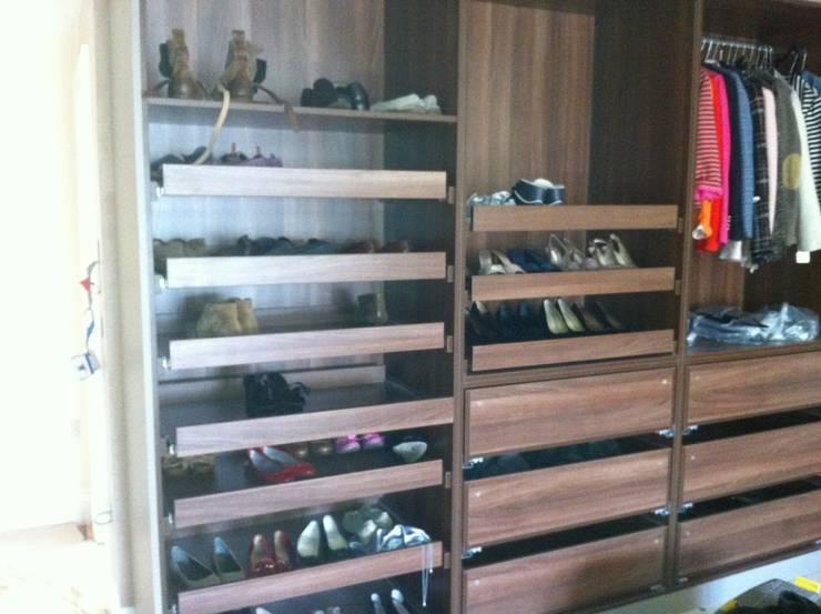 shoe drawers:  Bedroom by Designer Vision and Sound: Bespoke Cabinet Making
