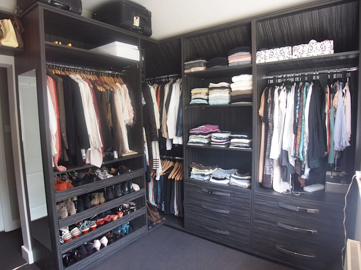 His and Her's dressing room including shoe draws.:  Dressing room by Designer Vision and Sound: Bespoke Cabinet Making