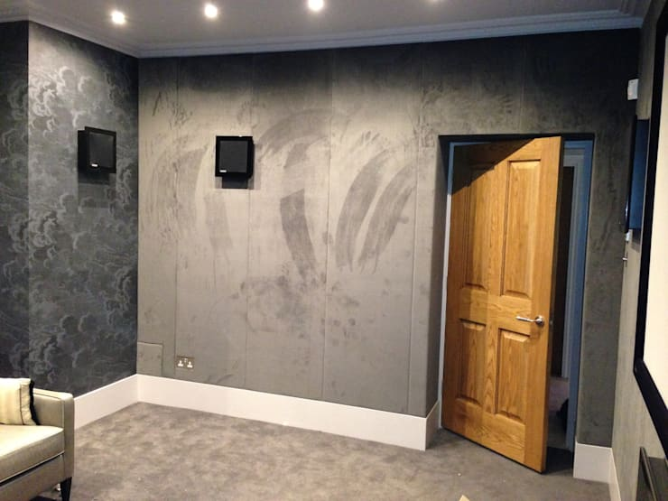 Fabric wall panels:  Walls & flooring by Designer Vision and Sound: Bespoke Cabinet Making