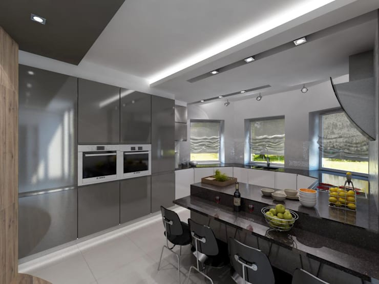 Projekt domu w stylu nowoczesnym: styl , w kategorii Kuchnia zaprojektowany przez iProjektowanieWnętrz