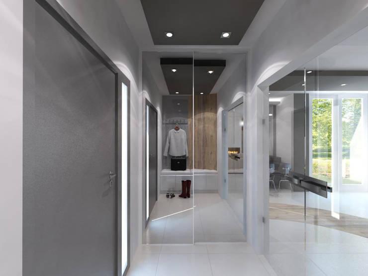 Projekt domu w stylu nowoczesnym: styl , w kategorii Korytarz, przedpokój zaprojektowany przez iProjektowanieWnętrz