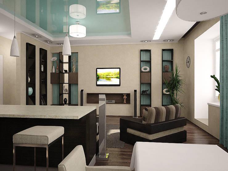 Квартира в цвете бирюзы: Гостиная в . Автор – Арте, Минимализм