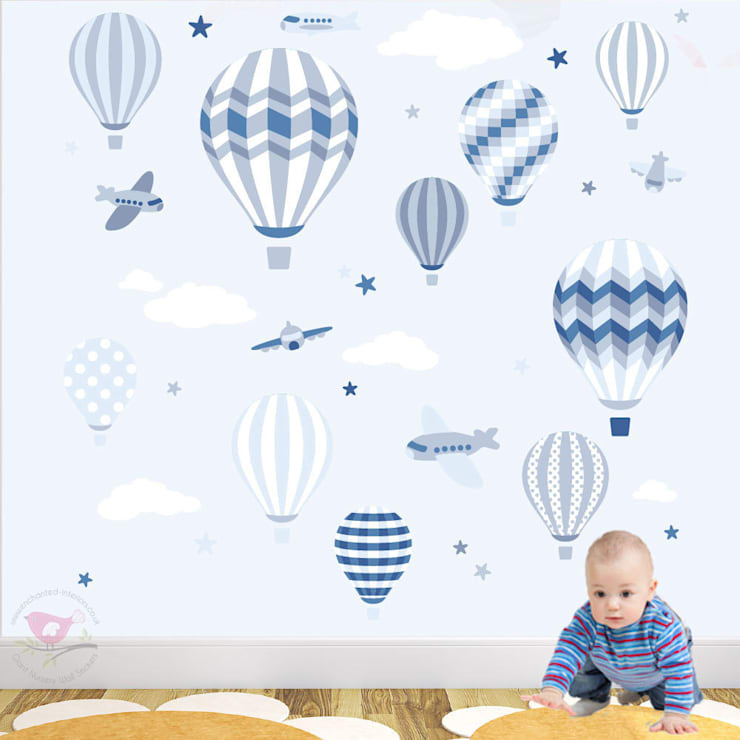 Deluxe Hot Air Balloons & Jet Luxury Nursery Wall Art Sticker Designs for a baby boys nursery:  Nursery/kid's room by Enchanted Interiors