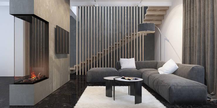 гостиная и лестница: Гостиная в . Автор – Tatiana Shishkina