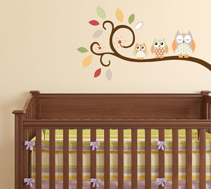 Autumn Owl Branch Luxury Nursery Wall Art Sticker Designs for a baby girls or baby boy nursery room: modern Nursery/kid's room by Enchanted Interiors