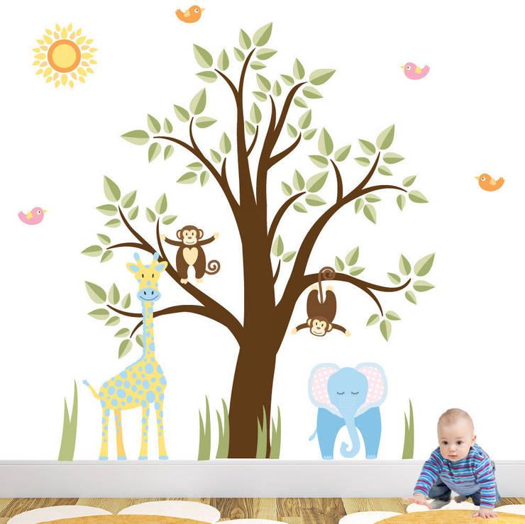 Jungle Animal Luxury Nursery Wall Art Sticker Design for a baby boys nursery room:  Nursery/kid's room by Enchanted Interiors