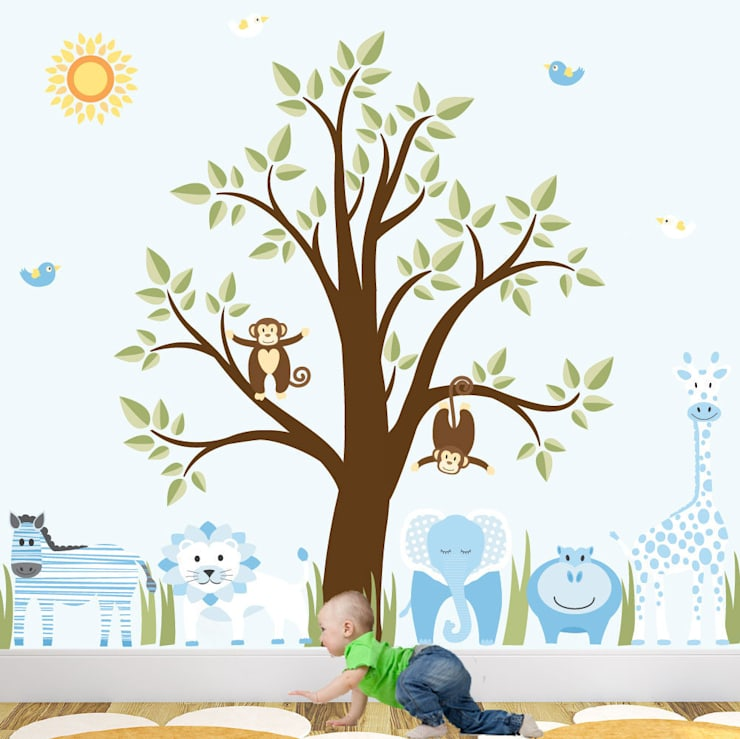 Deluxe Jungle Animal Luxury Nursery Wall Art Sticker Design for a baby boys nursery room:  Nursery/kid's room by Enchanted Interiors