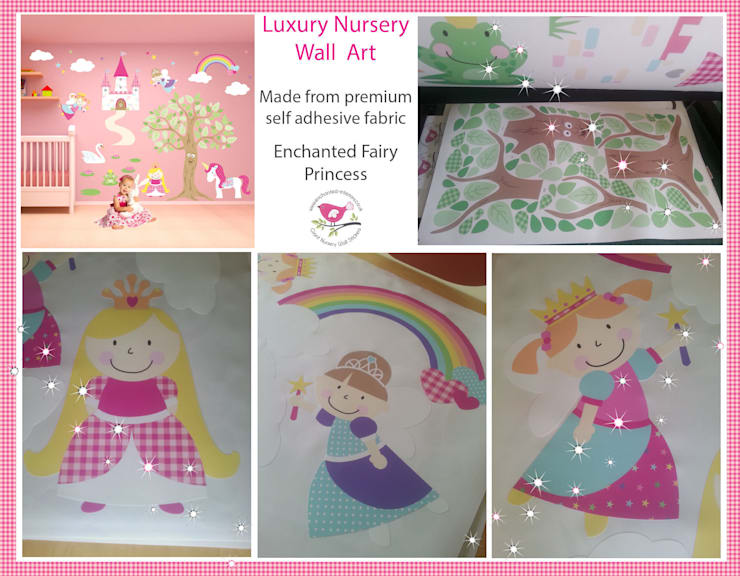 Deluxe Fairy Princess Luxury Nursery Wall Art Sticker Design for a baby girls nursery room:  Nursery/kid's room by Enchanted Interiors