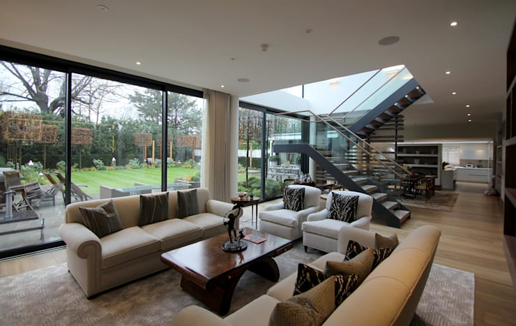 Coach House Lane, Wimbledon:  Living room by Hale Brown Architects Ltd