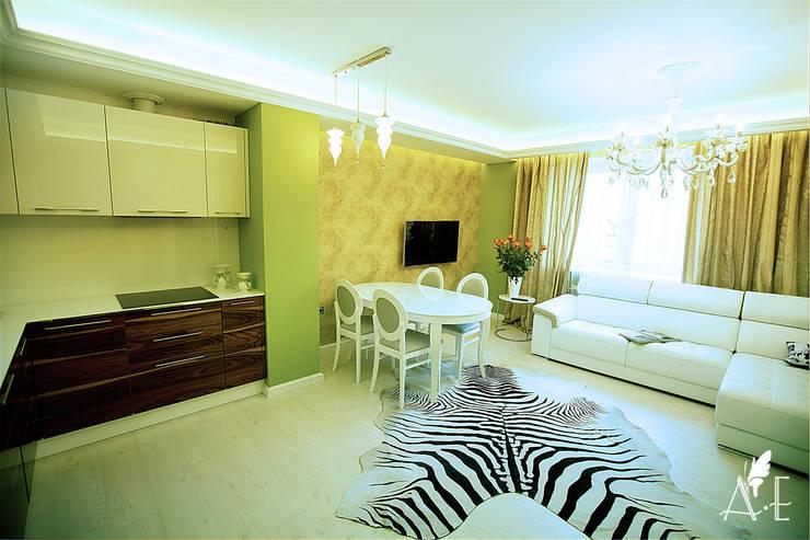 Интерьер квартиры  80 м2: Столовые комнаты в . Автор – Apolonov Interiors, Эклектичный