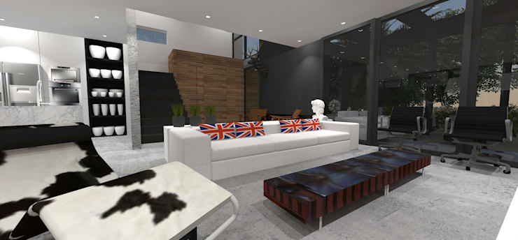 Casa JA: Salas de estar  por ZAAV Arquitetura