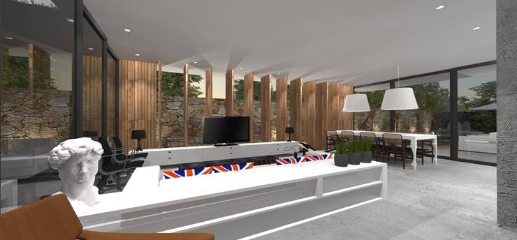 Casa JA: Salas multimídia  por ZAAV Arquitetura