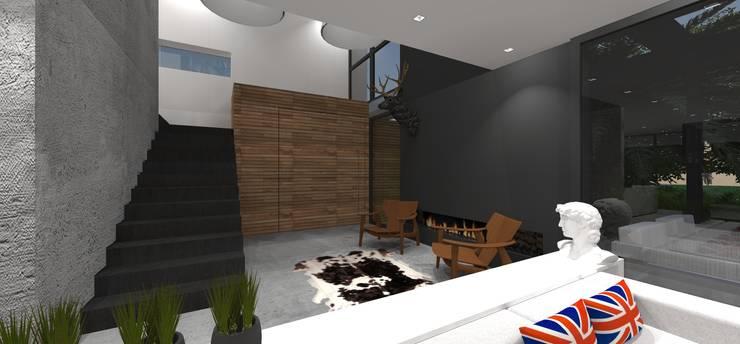 Casa JA: Corredores e halls de entrada  por ZAAV Arquitetura