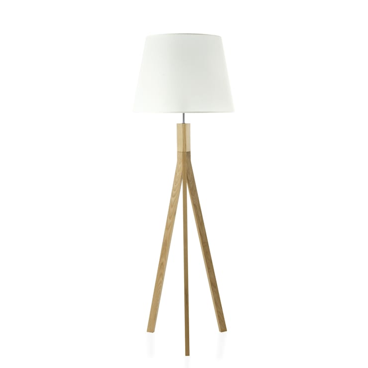 SVEN Natural Ash Wood Tripod Floor Lamp:  Living room by All the hues