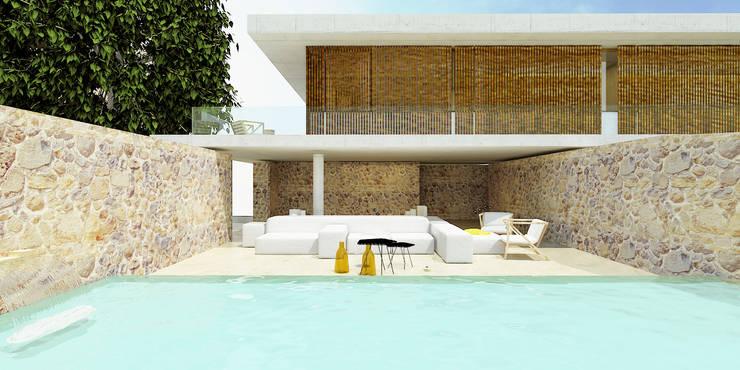 Casa I+F: Piscinas  por Artspazios, arquitectos e designers