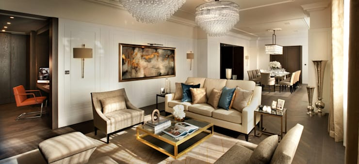 Project 4 Connaught Place, Marble Arch:  Living room by Flairlight Designs Ltd