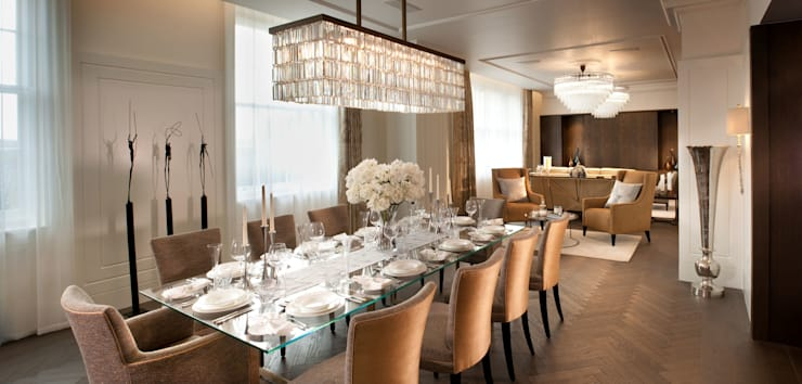 Project 4 Connaught Place, Marble Arch:  Dining room by Flairlight Designs Ltd