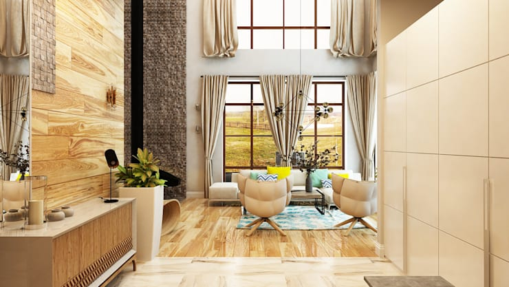 Проект интерьера загородного жилого дома 250 м2: Гостиная в . Автор – Apolonov Interiors, Минимализм