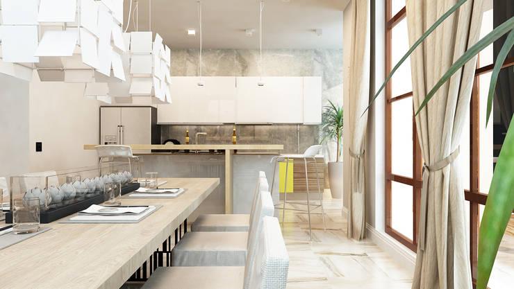 Проект интерьера загородного жилого дома 250 м2: Кухни в . Автор – Apolonov Interiors, Минимализм