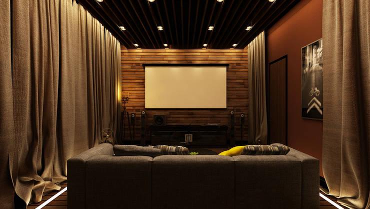 Проект интерьера загородного жилого дома 250 м2: Медиа комнаты в . Автор – Apolonov Interiors, Минимализм