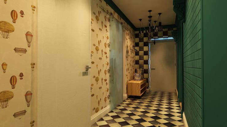 Дизайн проект квартиры 100 м2: Коридор и прихожая в . Автор – Apolonov Interiors, Эклектичный