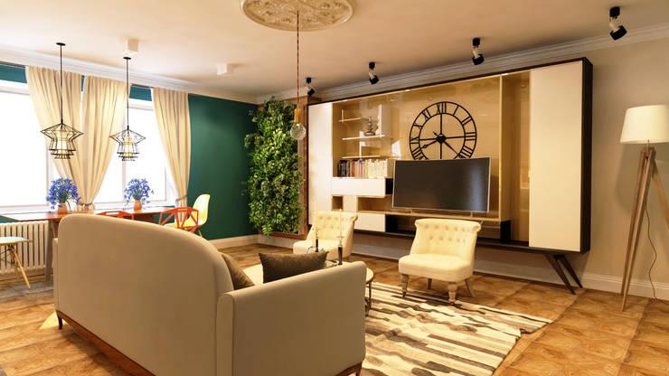 Дизайн проект квартиры 100 м2: Гостиная в . Автор – Apolonov Interiors, Эклектичный