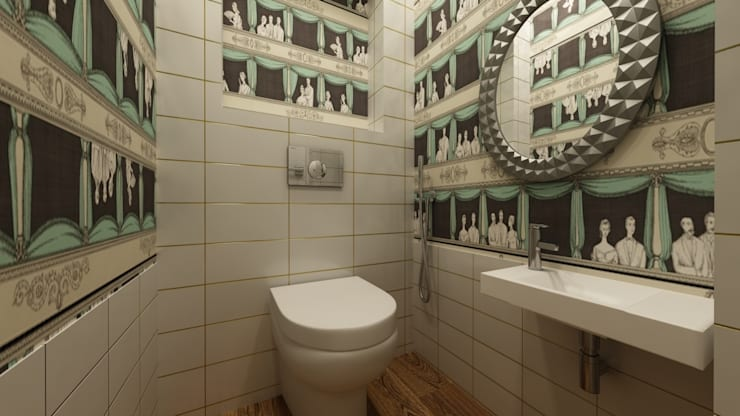 Дизайн проект квартиры 100 м2: Ванные комнаты в . Автор – Apolonov Interiors