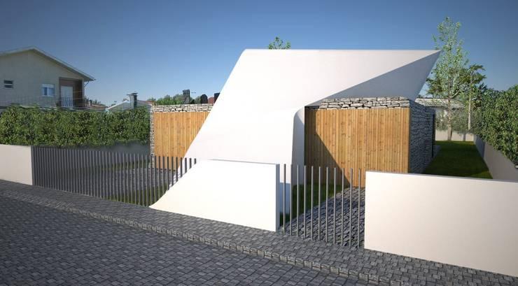 PT - Perspectiva Este EN - East Perspective FR - Perspective Este: Casas  por Office of Feeling Architecture, Lda