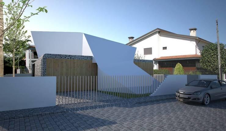 PT - Perspectiva Sudeste EN - Southeast Perspective FR - Perspective Sud-est: Casas  por Office of Feeling Architecture, Lda