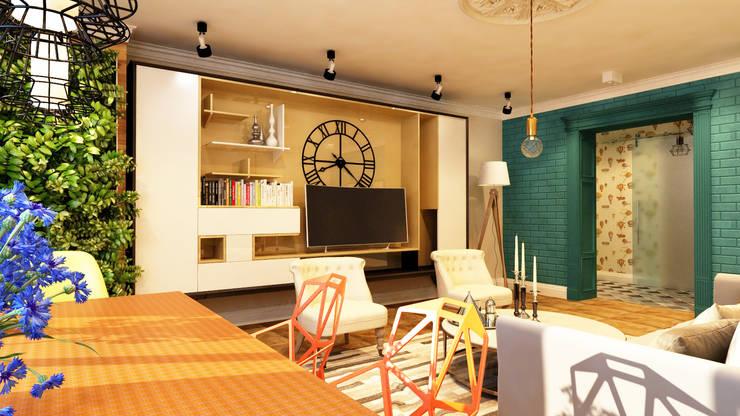 Дизайн проект квартиры 100 м2: Гостиная в . Автор – Apolonov Interiors