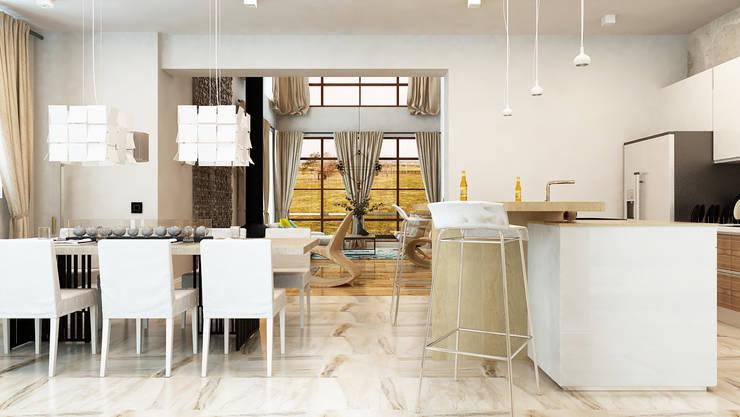 Проект интерьера загородного жилого дома 250 м2: Столовые комнаты в . Автор – Apolonov Interiors, Минимализм