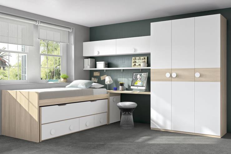 Cama compacto con armario y estanterias: Habitaciones infantiles de estilo  de Muebles y Decoración Marisa Cardona